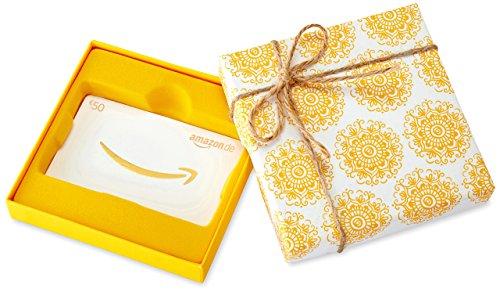 Amazon.de Geschenkkarte in Geschenkbox  - 50 EUR (Ringelblumen)