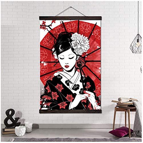 Ruby Geisha Samurai japonés Arte de la pared Lienzo Pintura Carteles Decorativos Imágenes de pared Decoración del hogar Regalo Arte moderno