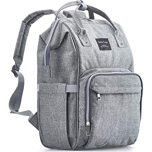 Diaper Bag Backpack, KiddyCare Multi-Function Baby Bag, Maternity Nappy Bags for Travel, Large Capacity, Waterproof, Durable & Stylish for Woman and Men, Gray