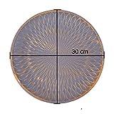 Flanacom Deko Tablett Dekoschale aus Holz - Design Holzschale Rund mit Verzierungen - Moderne Tischdekoration für die Wohnung - Tischdeko für Wohnzimmer oder Flur - Wohnaccessoires (Rund Grau) - 4