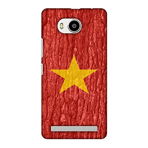 AMZER Slim Fit Handcrafted Designer Printed Snap On Hard Shell Case Back Cover for Lenovo A7700 - Vietnam Flag- Wood Texture HD Color, Ultra Light Back Case