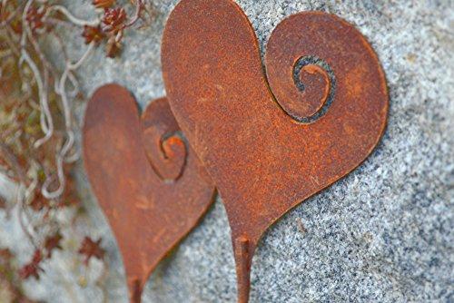 Saremo Herz 2 Stück Gartenstecker Metall Edelrost Rost Rostfigur Deko Dekoration Deko-Idee Dekoherz Rostdeko Gartendeko Geschenk-Idee Geschenk
