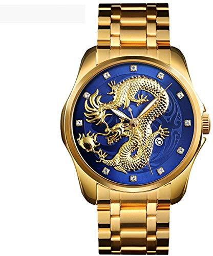 Estilo chino en relieve oro dragón reloj con manecillas luminosas casual de negocios hombres maduros s correa de acero reloj de cuarzo estilo-c