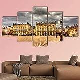 JJJKK Cuadro sobre Lienzo - 5 Piezas - Place Stanislas en Nancy Francia - Impresión en Lienzo - Talla: 150 x 80 cm - Decoracion de Pared - Listo para Colgar - en un Marco