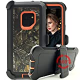 Galaxy S9 Case,Kudex Heavy Duty Defender Shockproof Full Body Protection Camo Tree Design Hard PC & Soft Silicone Tough Rugged Case Cover w/Belt Clip Kickstand for Samsung Galaxy S9 (Xtra Orange)