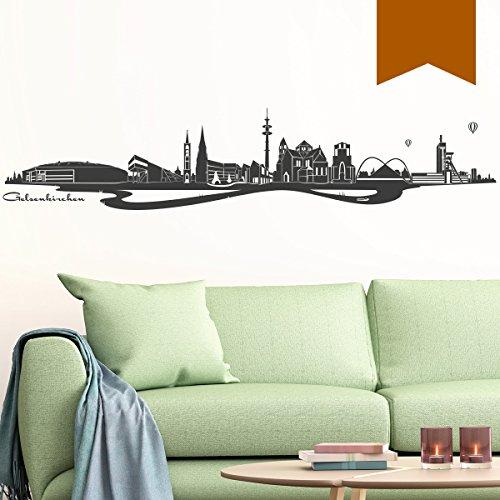 WANDKINGS Wandtattoo - Skyline Gelsenkirchen (mit Fluss) - 185 x 37 cm - Nussbraun - Wähle aus 6 Größen und 35 Farben
