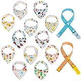 Lictin 12 pcs baberos Bufanda triángulo para bebés y niños pequeños con 2...
