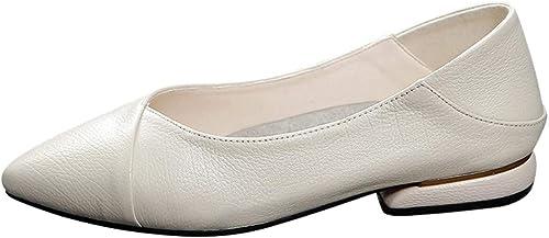 AJUNR Femmes Loisirs Les Femmes Baitao Version Coréenne 3 Cm à Fond Plat Loisirs Faible Talon Petites Chaussures en Cuir