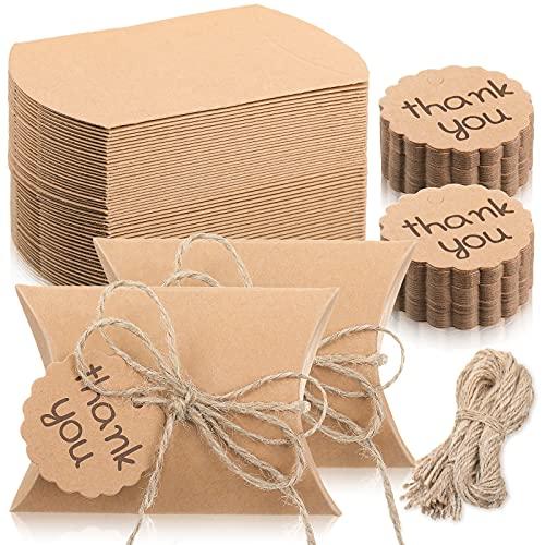 150 Piezas Kit de Cajas de Almohada de Papel Kraft Caja Rústica de Almohada de Caramelos Caja del Favor de Boda con Etiqueta de Thank You y Cordeles para Boda Baby Shower Fiesta Cumpleaños