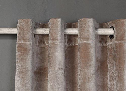 PimpamTex – Blickdichter Vorhang Wärmedämmender Samt Touch, 260x140 cm, mit 8 Ösen für Wohnzimmer, Schlafzimmer & Räume, blickdichte Gardinen Modell Samt (Sandfarben)