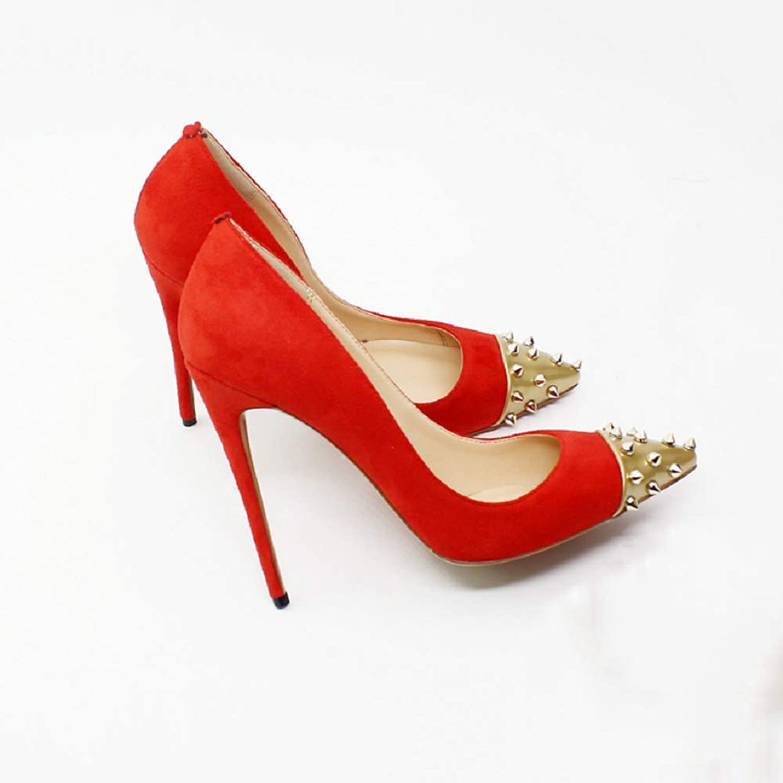 FAMLYJK Frauen Frauen Frauen Golden Nieten Spitzen Zehen Stilettos Slip-On Pumps High Heel Party Hochzeitskleid Schuhe  e79a4f