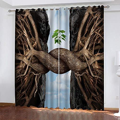 3D Impresión Cortina Opacas 140x160cm(WxH) Cortinas Opacas De Dormitorio Salon Opacas Termicas Aislantes Cortina 2 Piezas con Ojales, Reduccion Ruido Raíz