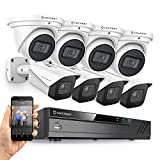 Amcrest 4K Security Camera System w/ 4K 8CH PoE NVR, (8) x 4K IP67 Weatherproof Metal Turret Dome & Bullet POE IP Cameras, 2.8mm Lens, Hard Drive Not Included, NV4108E-T2599EW4-2496EW4 (White)