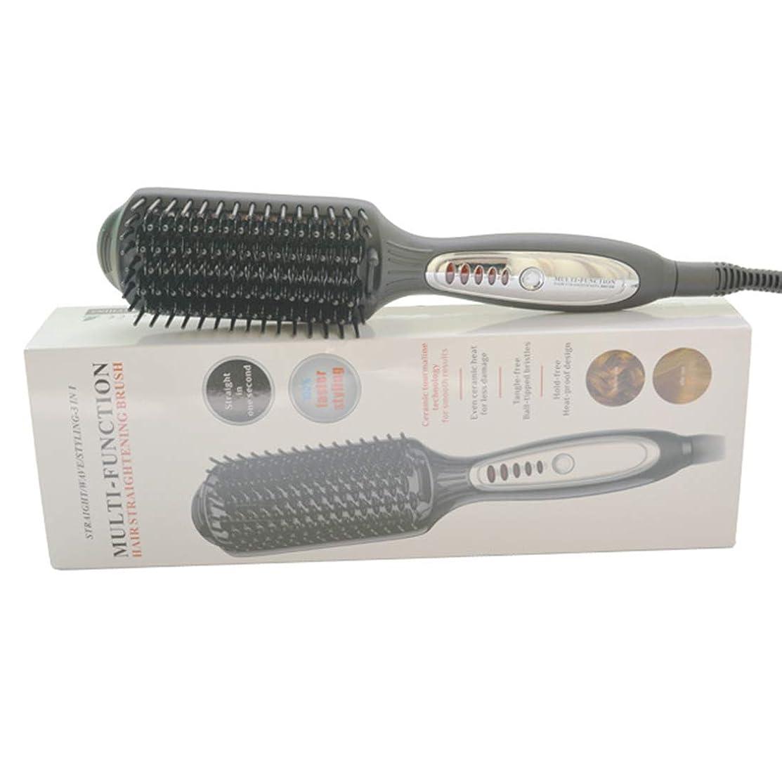 バリアカルシウム甘くするKpekey 暖房電気ストレートヘアコームLED温度制御マイナスイオンヘアストレートナー (色 : 黒)
