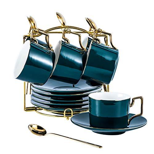 YOLIFE Juego de taza de té y platillo, juego de 6 platillos de cerámica, diseño verde oscuro con soporte de exhibición dorado (verde paquete de 6)