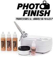 Photo Finish Professional Airbrush Cosmetic Makeup System Kit / Chose Shades- Light Medium or Tan 3pc Foundation Set Chose Matte or Luminous Finish Kit (Light Matte Finish)
