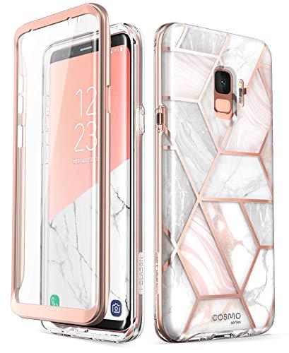 i-Blason Coque Galaxy S9, Coque Complète Brillante Glitter Bumper avec Protecteur d'écran Intégré [Série Cosmo] pour Samsung Galaxy S9 2018, Marbre
