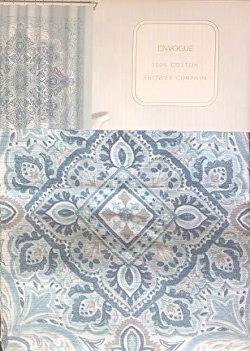 Envogue Designer Duschvorhang Boho Tapisserie Medaillon Muster in Schattierungen von Blau Grau Weiß 100prozent Baumwolle