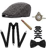 1920 - Set di 5 accessori da uomo, stile vintage del 1920, con cappello Panama, fascia elastica a Y, fiocco, orologio da tasca, sigaro in plastica grigio, 6 pezzi. Taglia unica