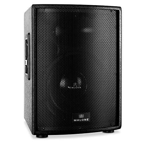 Malone PW-15A-T - aktive PA Box, PA-Aktiv-Lautsprecher, 1000 W Peak-Leistung, 38 cm (15'')-Subwoofer, Frequenzbereich: 40 Hz - 18 kHz, 2-Band-Equalizer, 35 mm-Flanschöffnung zum Stativ-Aufbau, schwarz