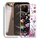 KJYF para iPhone 13 Fundas + 2 Piezas Cristal Templado, Transparente Case Anti-Arañazos Silicona TPU Caso Cover y Protector Vidrio Pantalla para iPhone 13 (6.1') - YQ29