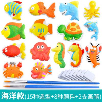 Metermall Games For Children's Plaster Color Painting Set Fruit Garden Christmas Series Mole Kids DIY Puzzle Toy Boys Girls Coloring Fun Tool 15 ocean models