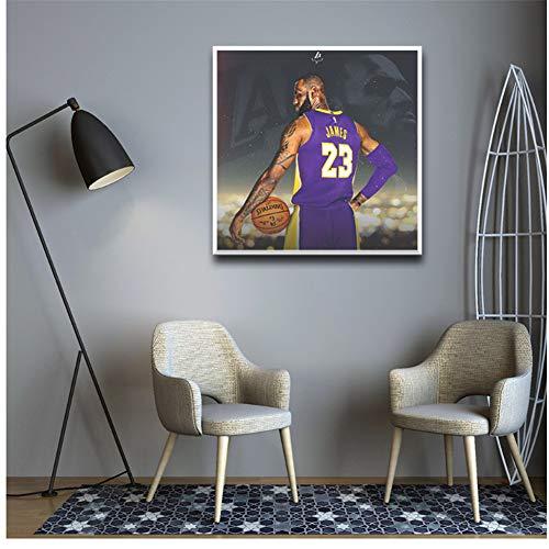 A&D Basketball Star Lebron James Moderne Leinwand Malerei Wandkunst Für Wohnzimmer Schlafzimmer Dekor Bilder An Der Wand Für Wohnkultur-60x60 cm Kein Rahmen
