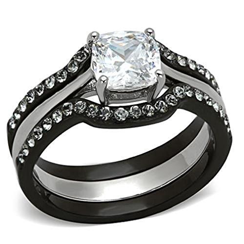 Doublebeez Jewelry Stainless Steel and Black IP 3 Piece Cubic Zirconia...
