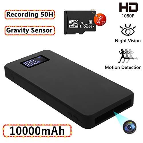 Cámaras espías Ocultas, 10000mAh Mini cámara de Seguridad 1080P con visión Nocturna Detección de Movimiento Gravedad Sensor Grabación en Bucle (con Tarjeta de 32GB)
