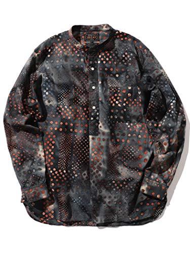 (ビームス)BEAMS/カジュアルシャツ PLUS バティックプリント バンドカラーシャツ メンズ BLACK XL