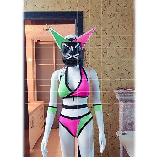 Enweonga LED Cosplay Kostüm - Katzenohren Maske + Bikini, Glow/Fluorescence/Reflective Für Karneval Halloween Party Kostüm Für Frauen Lady MS