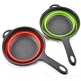 2 Pezzi Cestini Per Filtri in Silicone Pieghevoli da con Manico, Set di Colapasta Pieghevole Set da Cucina Ciotola per Detersivo, per Drenaggio Pasta Verdure Alla Frutta (Verde, Rosso)