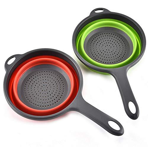 2 Stück Faltbare Silikonfilterkörbe Mit Griff, Zusammenklappbares Sieb Set Küchensieb Abwaschschüssel, zum Abtropfen von Obst Gemüse Nudeln (Grün, Rot)