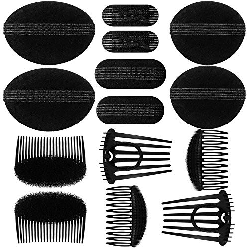 14 Pieces Sponge Bump It Up Volume Inserts Set Hair Base Styling Clip Volume Padding Fluffy Ponytail Bun Maker Hair Comb Tool Accessories