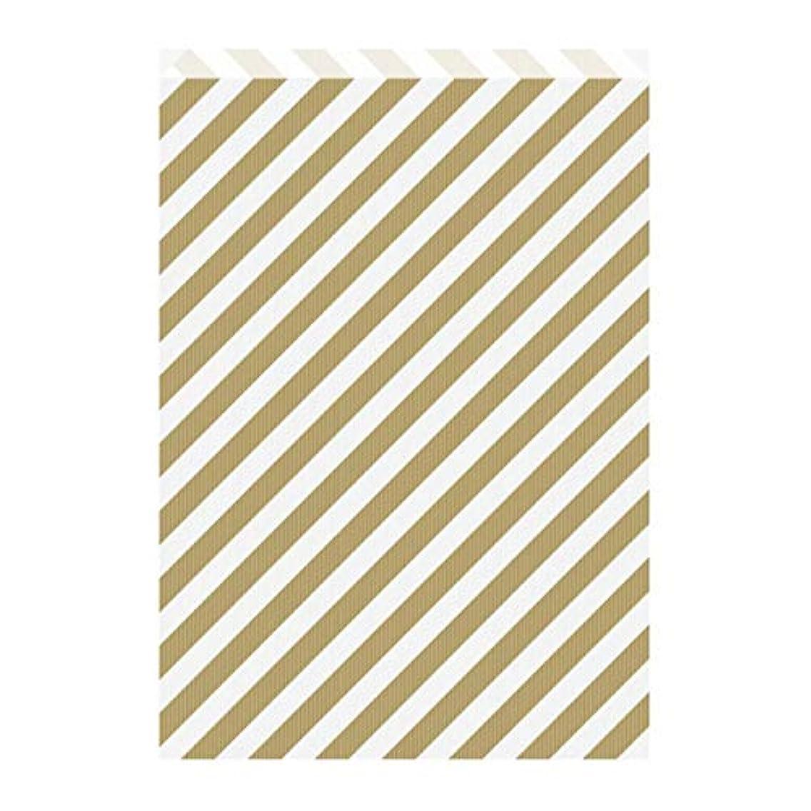 Garcia de Pou Flat Bags Striped 60 GSM in Box, 26 + 9 x 38 cm, Kraft, Gold, 26 x 38 x 30 cm