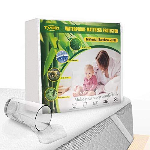 Tvird Coprimaterasso Matrimoniale Impermeabile 180x200 cm, 100% Bambu Copri Materasso 180 x 200 con 4 Angoli Elastici Proteggi Materasso, Coprimaterasso Antiacaro Traspirante (180 x 200 cm)