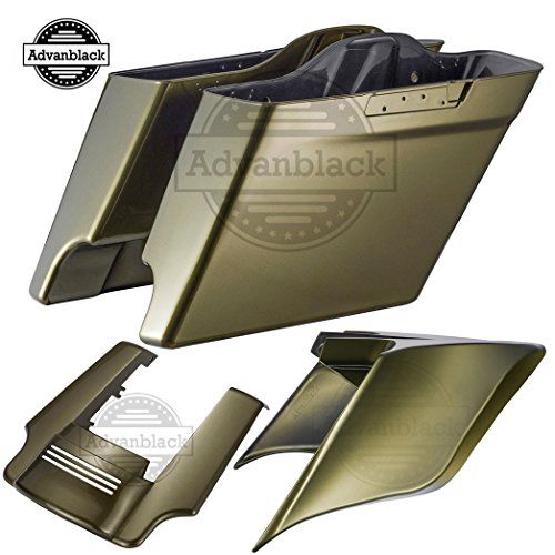 For Sale! Olive Gold 4 1/2 inch Stretched Hard Saddlebags Side Covers Fender Extension Extended Sadd...