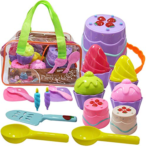 Hymaz Kids Beach Toys Set with Bucket Pail and Spade - Cake Ice Cream Sandbox Mold Set for Kids & Toddlers Ages 2,3,4,5,6,7,8,9