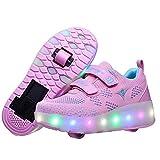 Wasnton Garçons Filles LED Chaussures à roulettes Roues Doubles Clignotant Respirant Patins à roulettes pour Unisexe Enfants Multisports Outdoor Sports Chaussures