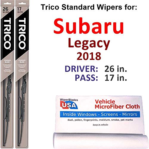 Wiper Blades Set for 2018 Subaru Legacy Driver/Pass Trico Steel Wipers Set of 2 Bundled with MicroFiber Interior Car Cloth