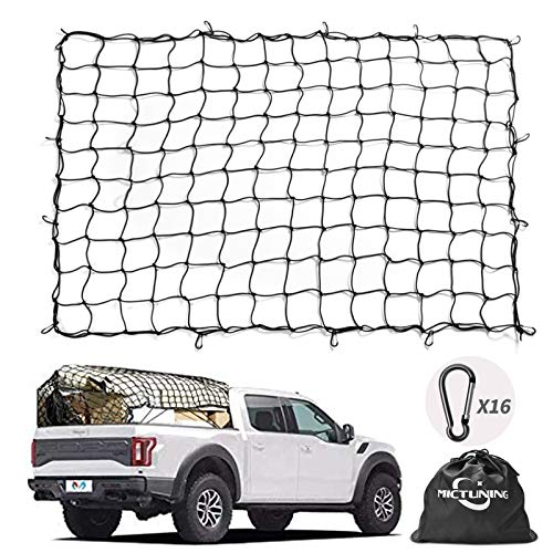 MICTUNING Cargo Net 5x7 Feet Heavy Duty Truck Bed Bungee Nets Stretches to 10x14 Feet with 16pcs D Shape Aluminum Carabiners Universal for Pickup Truck SUV Trailer Boat RV