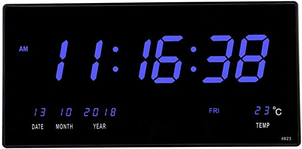 18 5 Inch Oversized LED Digital Wall Clock Calendar Large Display With Indoor Temperature Date And Day Of Week Electric Wall Mounted Desk Cock Timer Home Decor For Living Room Kitchen Classroom Blue