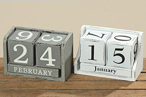 Kalender aus Würfel Dauerkalender Holz MDF farblich sortiert grau oder weiss im Retro Used Look