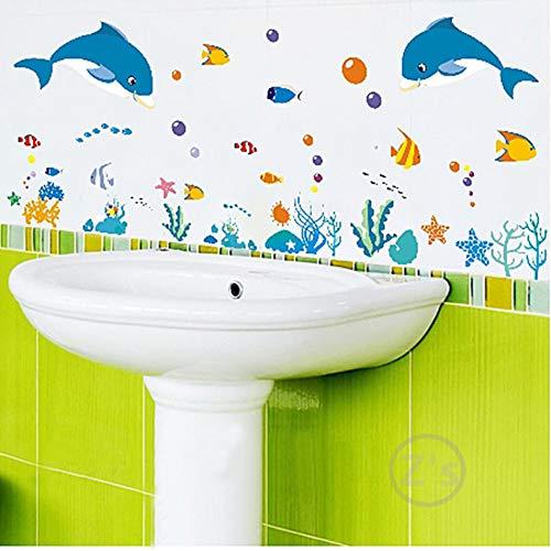 Dolfijn vis zee wereld muur stickers oceaan vissen douche tegel Stickers in de badkamer op bad zwembad