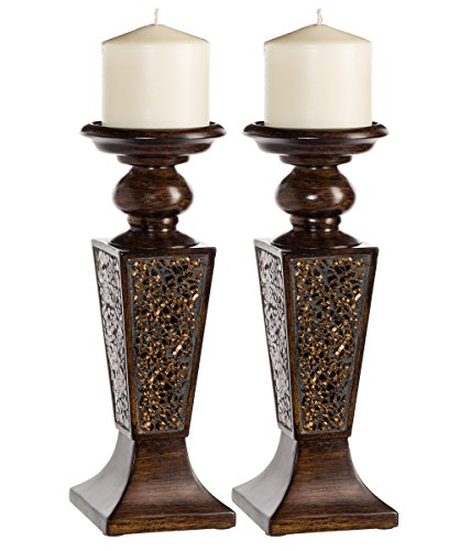 Creative Scents Schonwerk Pillar Candle Holder Set of 2- Crackled Mosaic Design- Functional Table Decorations- Centerpieces for Dining/ Living Room- Best Wedding Gift (Walnut)