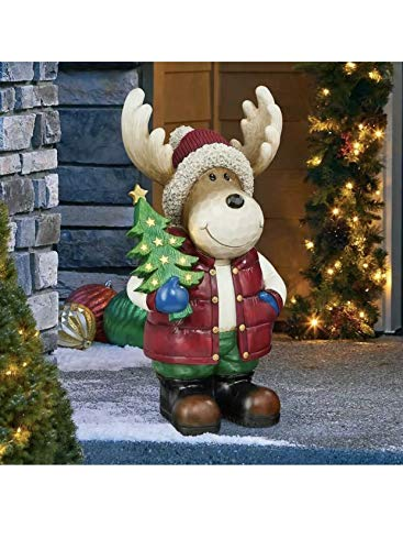 Moose with Christmas Tree, with LED Lights Timer on and Off