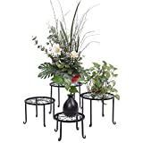 Kshioe Metal Plant Stand 4 in 1 Potted Irons Planter Holder Black Baking Paint for Indoor and Outdoor, Home, Garden, Patio, Lawn