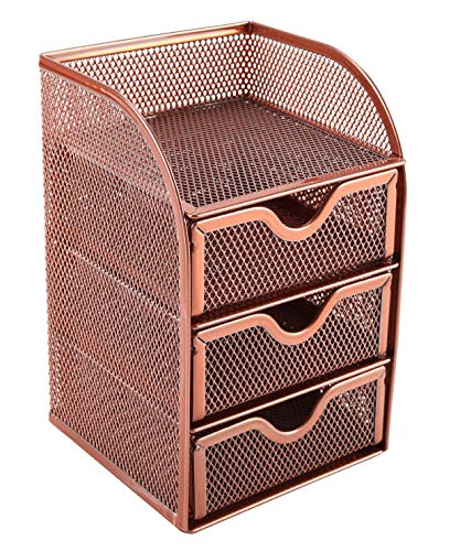 EasyPAG Mesh Desk Organizer Supply Caddy with 3 Accessories Drawer,Rose Gold