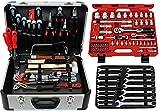 Famex 720-21 Profi Alu Werkzeugkoffer mit Steckschlüsselsatz   Werkzeugkasten gefüllt mit Werkzeug   für den gewerblichen Einsatz