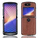 SPAK Motorola Razr 5G 2020 Hülle,Neuer Qualitäts Krokodilmuster Schutzhülle Harter Rückseitiger Abdeckungs Handyhülle für Motorola Razr 5G 2020 (Braun)